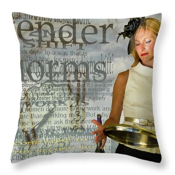 Domestic Considerations  Gender Norms Throw Pillow by Ann Tracy