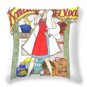 Domestic Diva Throw Pillow
