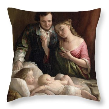 Domestic Happiness Throw Pillow by Lilly Martin Spencer
