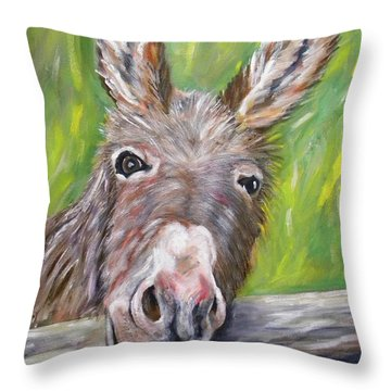 Dominic The Donkey Throw Pillow