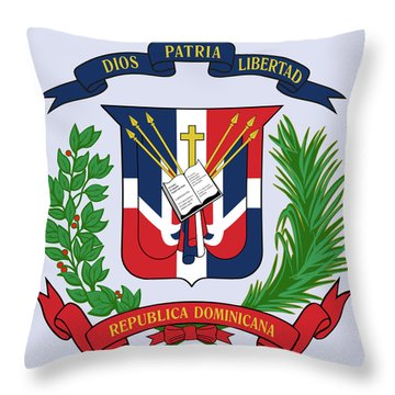 Throw Pillow featuring the drawing Dominican Republic Coat Of Arms by Movie Poster Prints