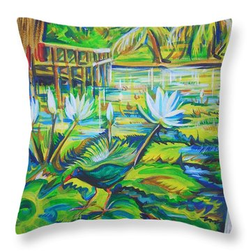 Throw Pillow featuring the painting Dominicana by Anna  Duyunova