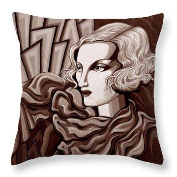 Dominique In Sepia Tone Throw Pillow by Tara Hutton