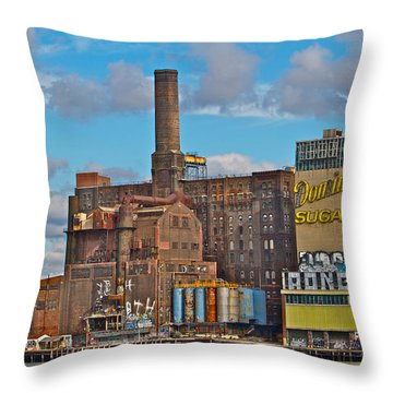 Domino Sugar Water View Throw Pillow by Alice Gipson