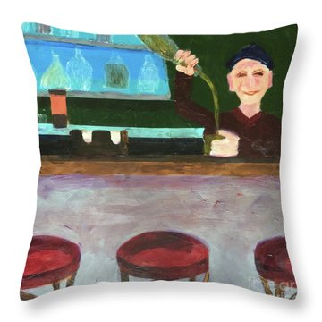 Throw Pillow featuring the painting Don At Tres Gringos Bartending by Donald J Ryker III