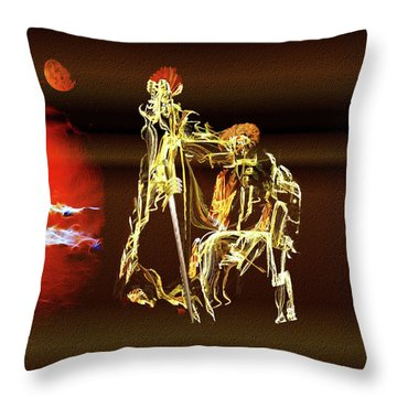 Throw Pillow featuring the painting Don Quixote And Sancho Panza by Valerie Anne Kelly
