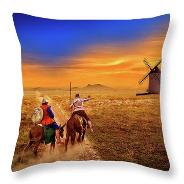 Don Quixote And The Windmills Throw Pillow