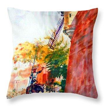 Don Quixote In San Juan Throw Pillow