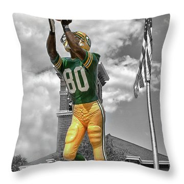 Throw Pillow featuring the photograph Donald Driver Statue by Joel Witmeyer
