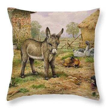 Donkey And Farmyard Fowl  Throw Pillow by Carl Donner