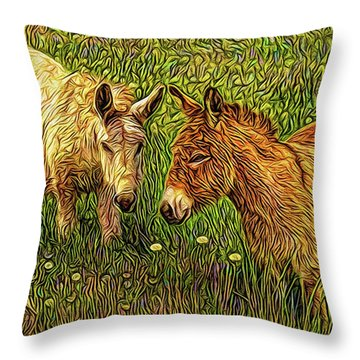 Donkey Confidential Throw Pillow by Joel Bruce Wallach