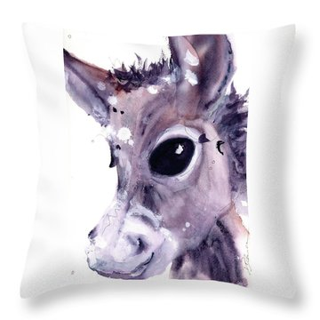 Throw Pillow featuring the painting Donkey by Dawn Derman