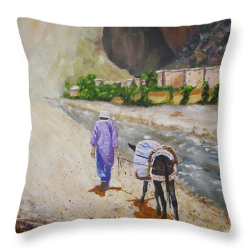 Donkey Work Throw Pillow