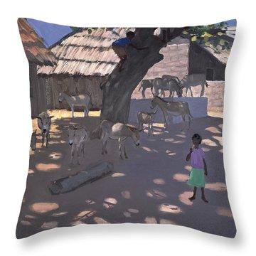 Donkeys Lamu Kenya Throw Pillow