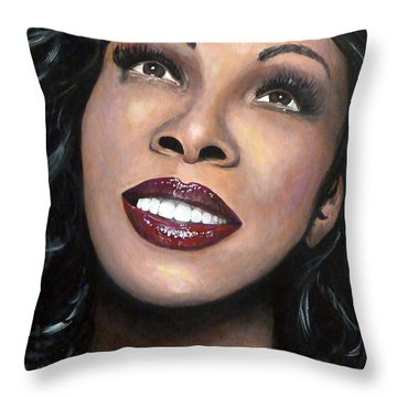 Donna Summer Throw Pillow by Tom Carlton