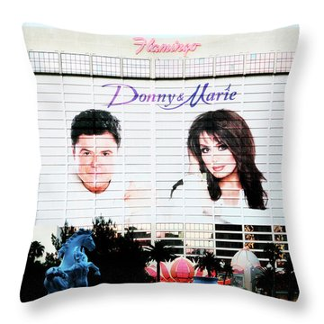 Donny And Marie Osmond Large Ad On Hotel Throw Pillow