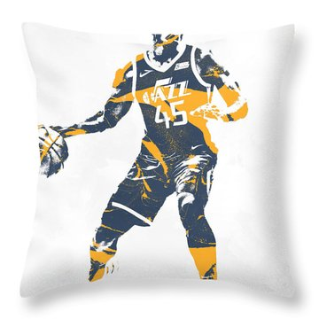Donovan Mitchell Utah Jazz Pixel Art 10 Throw Pillow