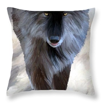 Throw Pillow featuring the painting Gray Wolf Treading Carefully by James Shepherd