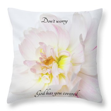 Throw Pillow featuring the photograph Don't Worry Square by Mary Jo Allen
