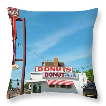 Donut Drive In Throw Pillow