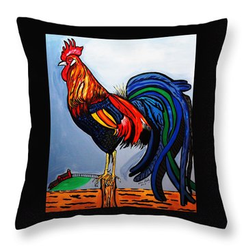 Doodle  Dum  Rooster Throw Pillow