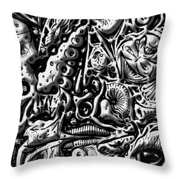 Doodle Emboss Throw Pillow by Darren Cannell