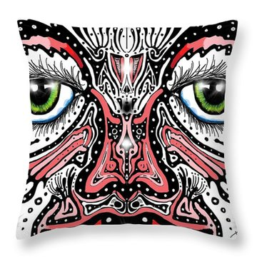 Doodle Face Throw Pillow by Darren Cannell