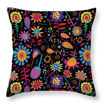 Doodlefest Flowers Throw Pillow by Darlene Seale