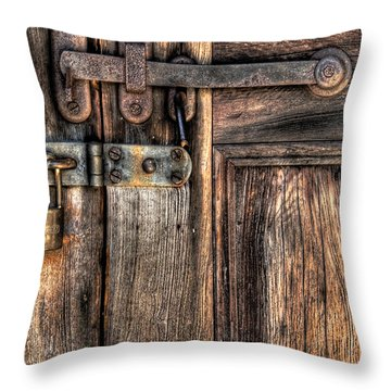 Door - The Latch Throw Pillow by Mike Savad