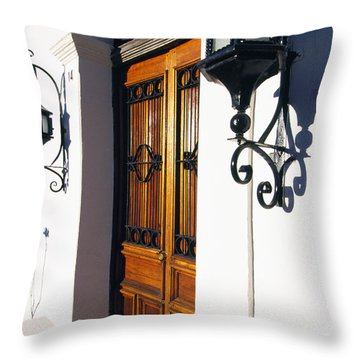 Door And Lamps Throw Pillow by Thomas R Fletcher