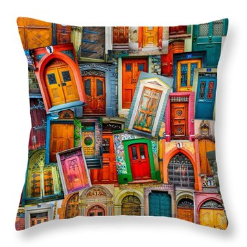 Door Collage Mashup Throw Pillow by TK Goforth