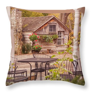 Throw Pillow featuring the photograph Door County Thorp Cottage by Heidi Hermes