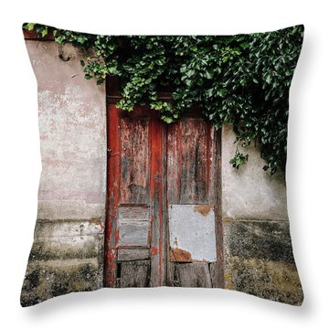 Throw Pillow featuring the photograph Door Covered With Ivy by Marco Oliveira