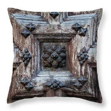 Throw Pillow featuring the photograph Door Fragment Of The Church Of The Jacobins by Elena Elisseeva