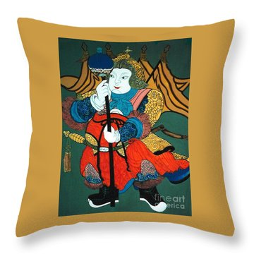 Throw Pillow featuring the painting Door Guard No.2 by Fei A