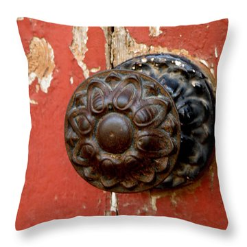 Door Knob On Red Door Throw Pillow
