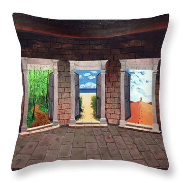 Door Number Three Throw Pillow