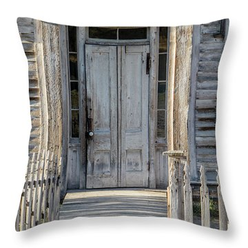 Door Of The Old Bannack Schoolhouse And Masonic Temple Throw Pillow