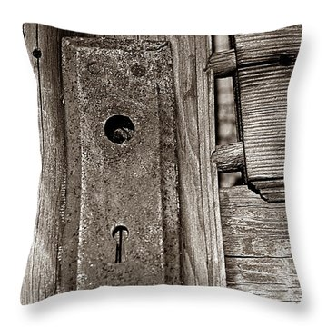 Throw Pillow featuring the photograph Door To Days Long Gone by Wanda Brandon