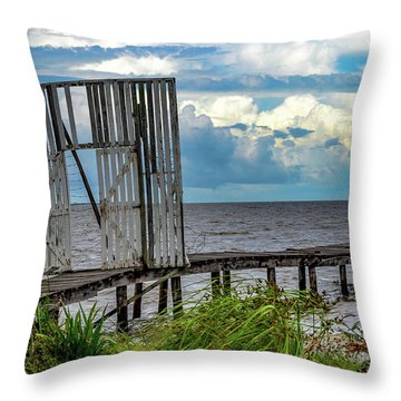 Door To Dock Throw Pillow