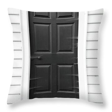 Door With Cobwebs In Black And White Throw Pillow