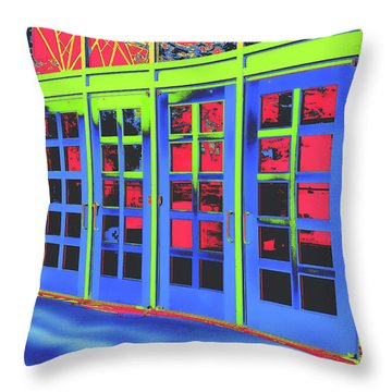 Throw Pillow featuring the digital art Doorplay by Wendy J St Christopher