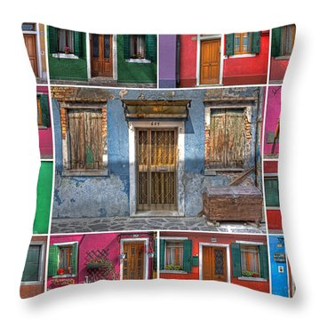 doors and windows of Burano - Venice Throw Pillow by Joana Kruse