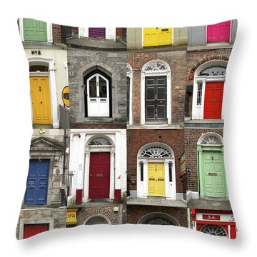 Doors Of Limerick Throw Pillow by Marie Leslie
