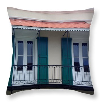 Doors On The Balcony Throw Pillow by Lois Lepisto