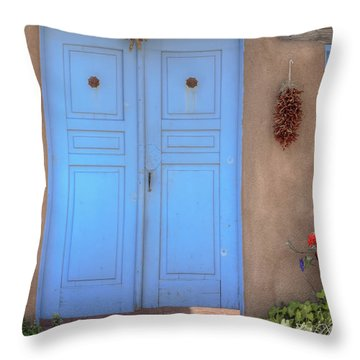 Doors, Peppers And Flowers. Throw Pillow