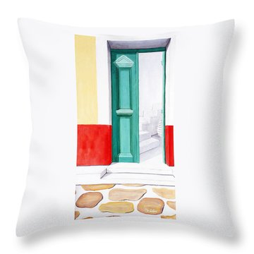 Doorway To Mykonos - Prints Of Original Oil Painting Throw Pillow