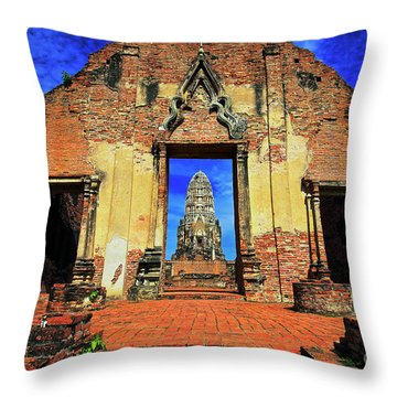 Doorway To Wat Ratburana In Ayutthaya, Thailand Throw Pillow
