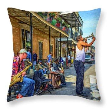 Doreen's Jazz New Orleans - Paint Throw Pillow