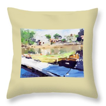 Dories At Beacon Marine Basin Throw Pillow